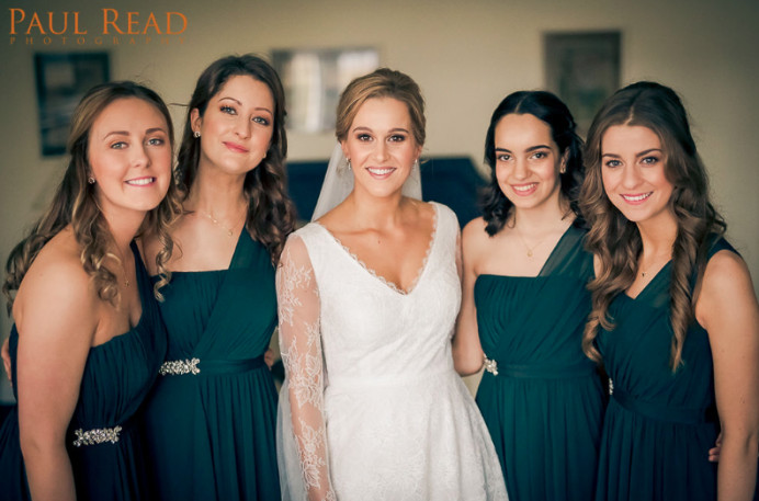 I was the Make Up Artist for the entire bridal party including the bride and mother of the bride plus all of the bridesmaids, so every lady that you see in this photo had their make up done by me. - Make Me Bridal Artist: Jenna West Make Up. Photography by: Paul Read.