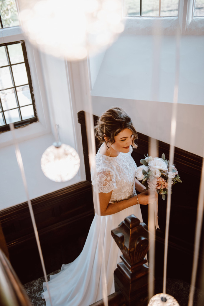 Samantha's Christmas Wedding in Dec 2019 in Brighton. Her hair and Make Up complimented the winter theme beautifully. - Make Me Bridal Artist: Jenna West Make Up. Photography by: Jessica Bevan. #glamorous #hairup #softupdo #christmaswedding