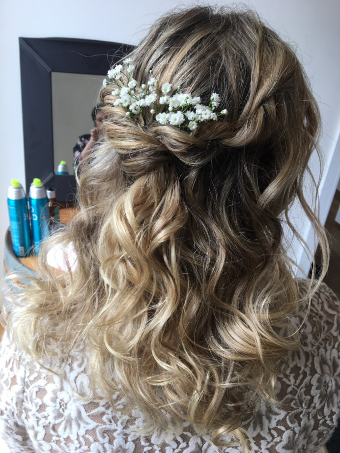 - Make Me Bridal Artist: Lisa gadsby wedding hair specialist . Photography by: Lisa gadsby . #halfuphair #curls #gypsophila #soft #bridesmaidhair #wavyhair