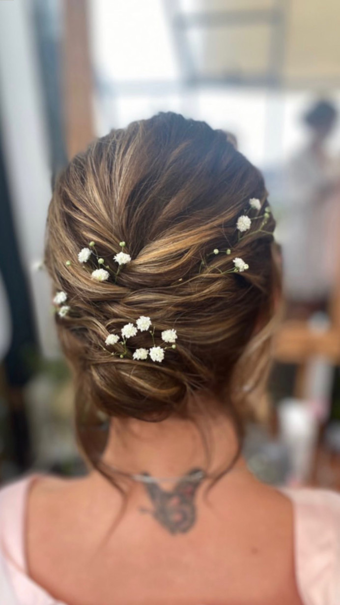 Low updo hairstyle for very fine hair - Make Me Bridal Artist: Abigail Blake.