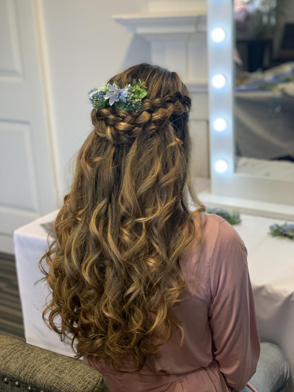 Half up half down hairstyle with Dutch braid - Make Me Bridal Artist: Abigail Blake.