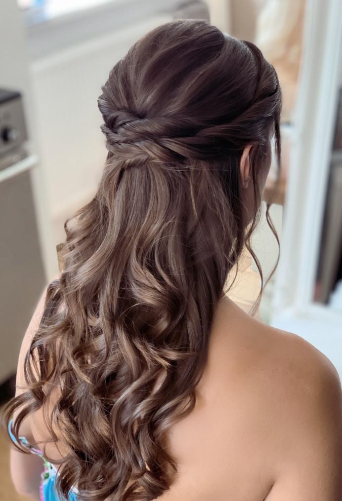 Half up style with curls - Make Me Bridal Artist: Abigail Blake.