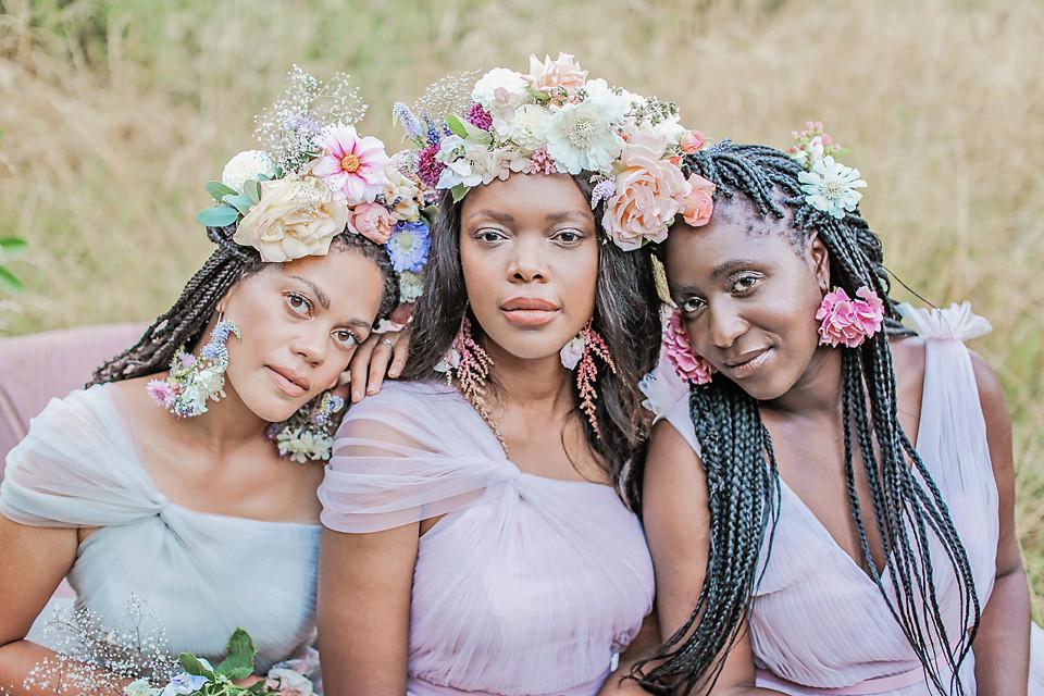 Concept and Styling @thewhiteemporium Photographer @victoriamitchellphotography Florist @flowers_at_fiftyeight Dresses @thth_bridesmaids Furniture @nikkitapdesigns_hire Grazing Table @gourmetdinnerlady Cake @onepartlovebakery Make Up @rosiecerosiomakeup Hair @kimsandfordhairdressing Videographer @staceymaephoto    Models  Laura @lauranathsamjoe Blessing: Insta @ochanya_b Jabou: Insta @cindersxoxo - Make Me Bridal Artist: Rosie Cerosio Makeup. Photography by: Victoria Mitchell. #boho #flowercrown #romantic