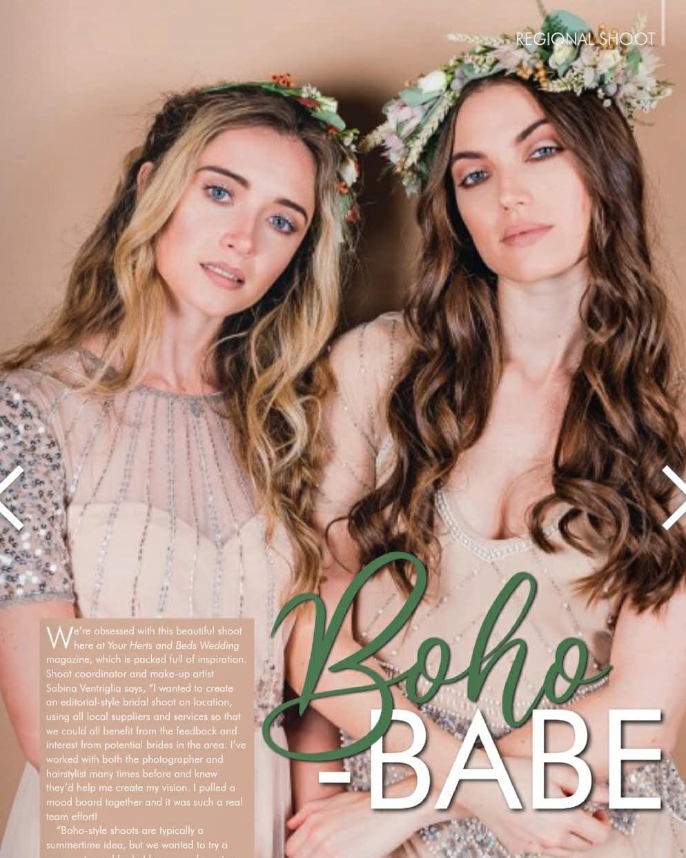 Editorial piece featuring in Your Wedding magazine. - Make Me Bridal Artist: Sabina Ventriglia Makeup Artist. Photography by: Clare Davis. #bohemian #boho #naturalmakeup #bridalhair