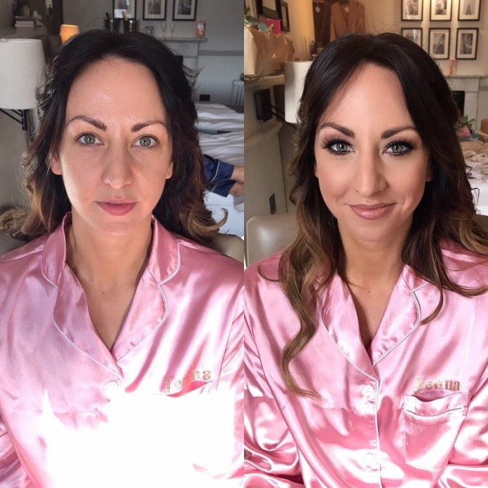 A before and after of one of my brides. - Make Me Bridal Artist: Sabina Ventriglia Makeup Artist. Photography by: NA. #smokeyeyes #bridalmakeup #bride #makeupartist #beforeandafter