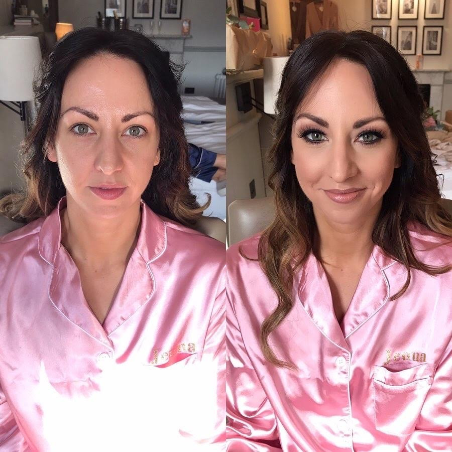 A before and after of one of my brides. - Make Me Bridal Artist: Sabina Ventriglia Makeup Artist. Photography by: NA. #smokeyeyes #bridalmakeup #bride #makeupartist #beforeandafter