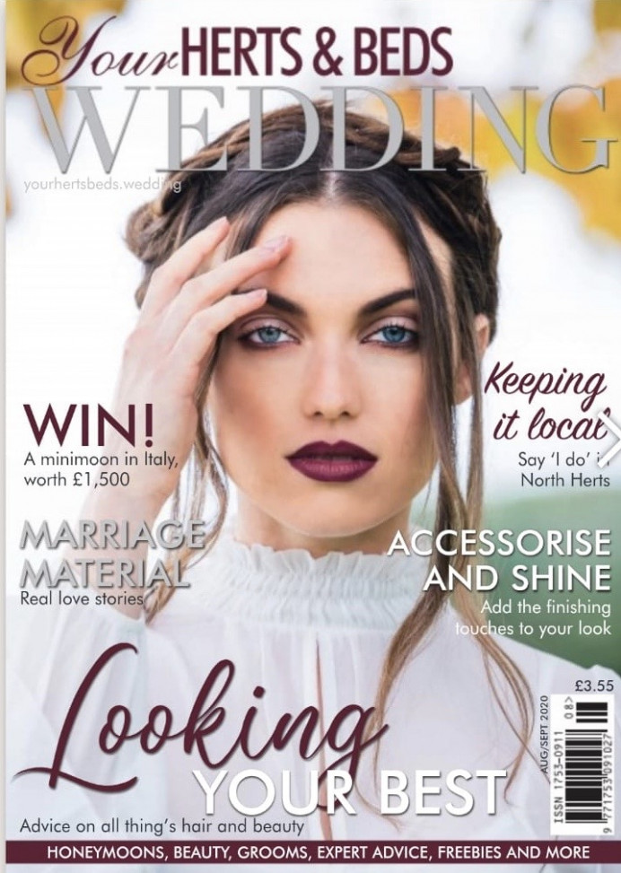 My hair featuring on the front cover of Your Herts & Beds Wedding Magazine. - Make Me Bridal Artist: RDWhair. Photography by: Clare Davis. #bohemian #updo #editorial #weddingmag