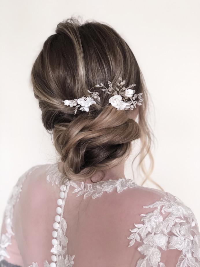 A soft & textured bridal bun. - Make Me Bridal Artist: RDWhair. #bridalhair #softupdo #texturedupdo