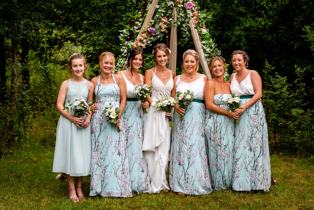 A beautiful bridal party from summer 2019. - Make Me Bridal Artist: RDWhair. #bohemian #bridalhair #bridalparty