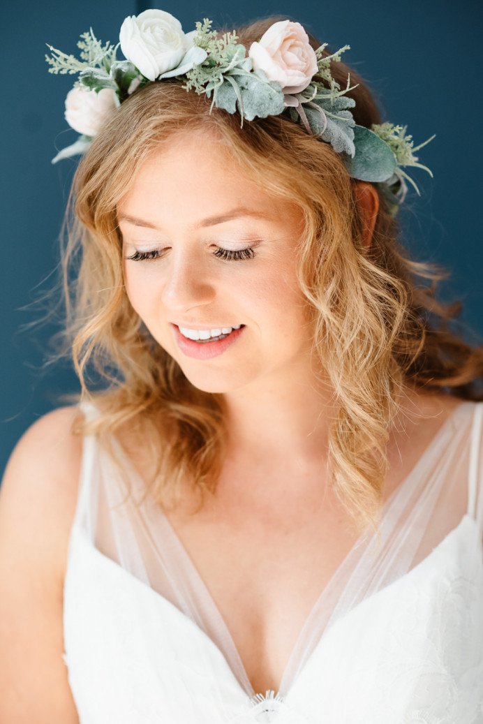 - Make Me Bridal Artist: SJB Hair and Makeup. Photography by: Unknown. #bridalhairandmakeup #bohobride #flowercrown #bohowedding #halfuphalfdown #weddingdayhair #weddingdayhairandmakeup #beachywave #haisrtsylist