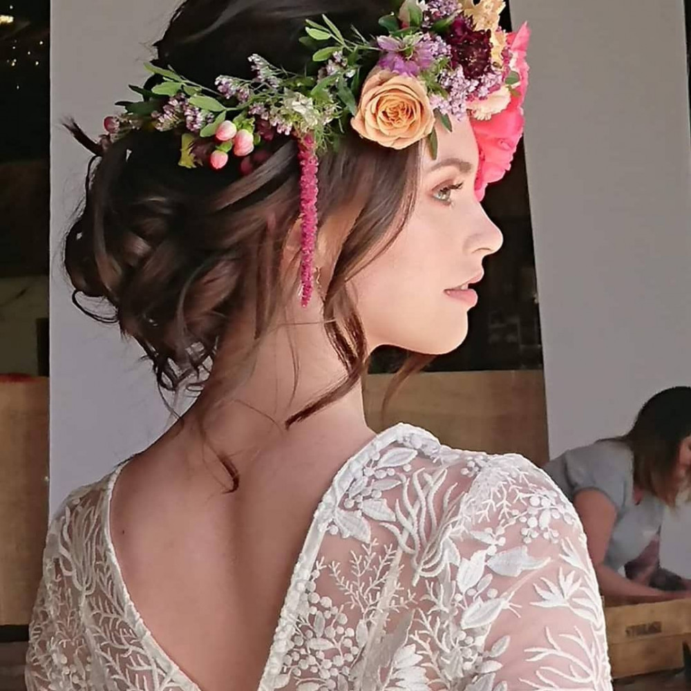 - Make Me Bridal Artist: Beautystyle. Photography by: My own image. #bohemian #boho #flowercrown #relaxedupdo #bridalhair #festivalstyle
