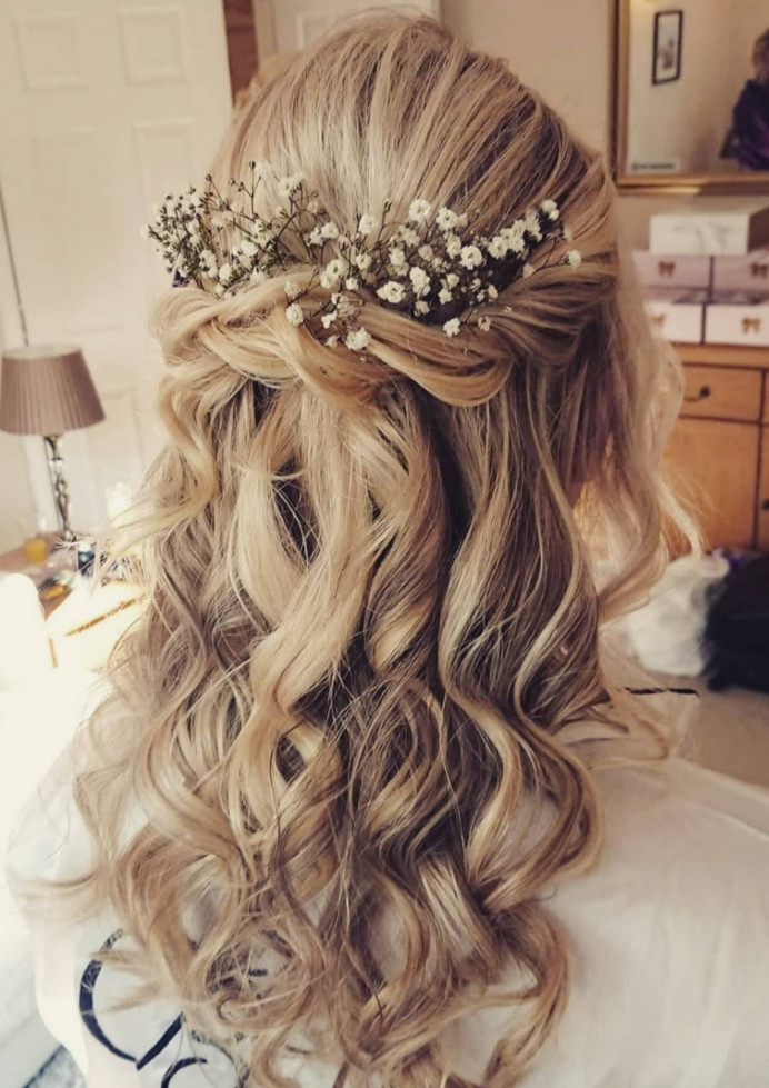 - Make Me Bridal Artist: Beautystyle. Photography by: My own image. #bohemian #boho #halfuphair #gypsophila #romantichairup #braids #weddinghairdown #fairytalewedding