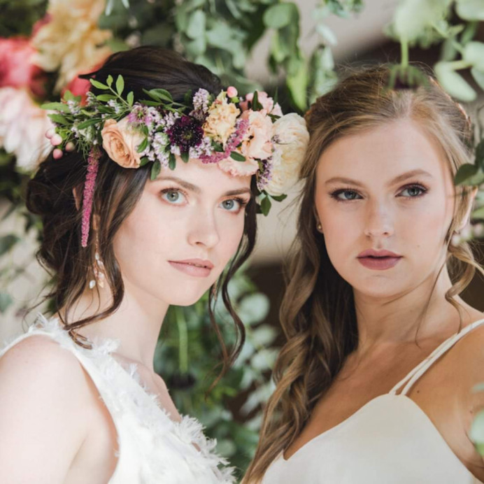 - Make Me Bridal Artist: Beautystyle. Photography by: Thomos Harper weddings. #bohemian #boho #flowercrown #naturalmakeup #halfuphair #bridalmakeup #bridalhair #flowersinherhair #romantichairup #bride