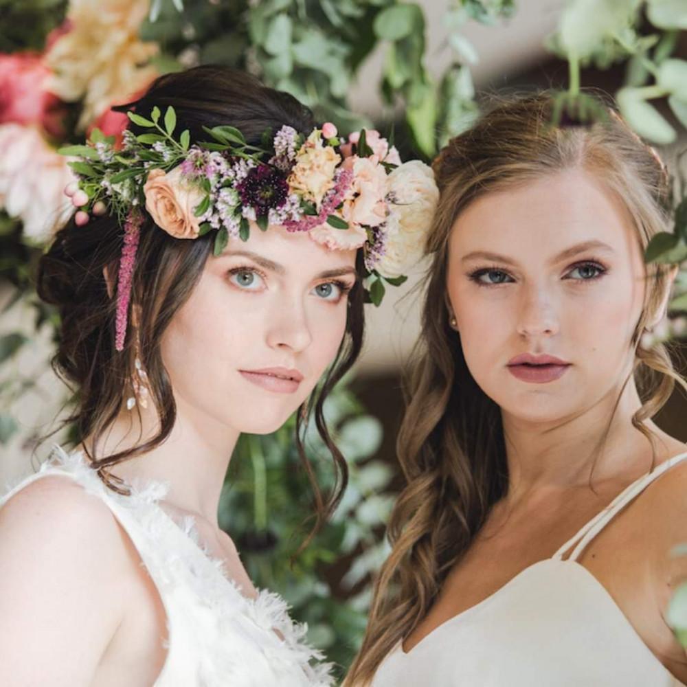 - Make Me Bridal Artist: Beautystyle. Photography by: Thomos Harper weddings. #bohemian #boho #flowercrown #naturalmakeup #halfuphair #bridalmakeup #bridalhair #flowersinherhair #romantichairup #bride