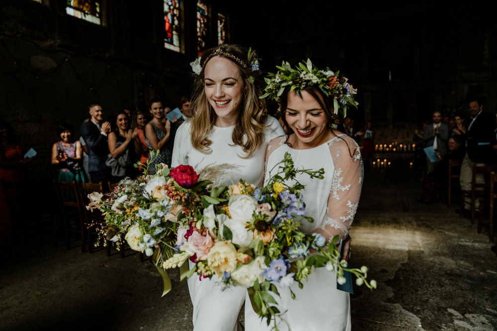 Jo and Saskia's Wedding the Asylum - Make Me Bridal Artist: Butterfly Hair & Makeup. Photography by: Ginger Beard Wedding Photography. #samesexwedding #boho