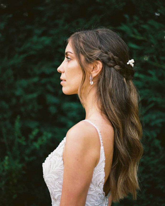 Bride Sara - Make Me Bridal Artist: let's hair. Photography by: Vitor Gordo. #bohemian #classic #halfuphair #braid #braids #bohobride #crownbraid #elopement #effortlesshair #naturalelegance #beautifulelegantbride #naturalbeauty #vintageweddingdress #elegantwedding #eleganthair #naturalglam