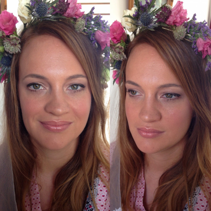 fresh, natural and dewy make up for this bride who wanted a barely there make up look. - Make Me Bridal Artist: Lucy Elliot hair and make up artist. Photography by: n/a. #boho #flowercrown #naturalmakeup #bridalmakeup #pretty #freshfaced #dewyskin #freshmakeup #dewyglow #classic #roselip #brunette #beauty #flawless #suntan #naturalbeauty #greeneyes