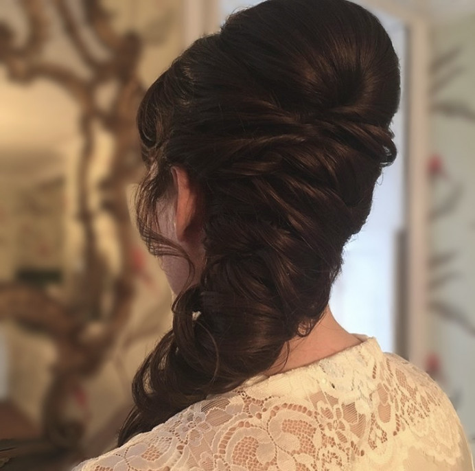 Mermaid braid for a bride. Hair by Hair That Turns Heads. - Make Me Bridal Artist: Hair That Turns Heads. #bridalhair #soft #rustic #elegant #loosecurls #hairstyling #glamourous #boho #romantic #bridalhairstylist #bohohair #prettymakeup #weddinghair #mermaidbraid #romantichair #looseupdo #mermaidhair