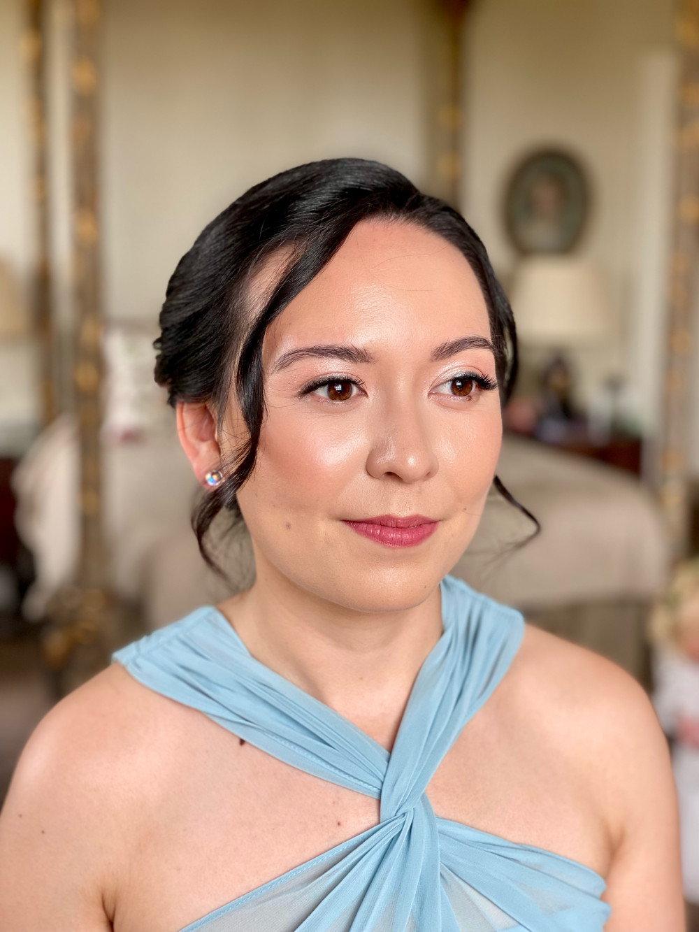 Dewy, radiant skin and bespoke individual lashes for a bridesmaid. - Make Me Bridal Artist: Stephanie Graham Vegan & Cruelty-Free Makeup Artist. Photography by: Stephanie Graham. #naturalmakeup #glow #lashes #bridesmaid #natural #bridesmaidmakeup #dewyskin #individuallashes #glowingskin