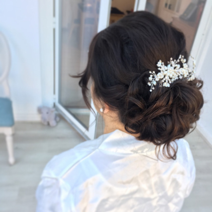 - Make Me Bridal Artist: Zoe Sharman hair and makeup. #bridalhair #messybun #curlyupdo #messyupdo
