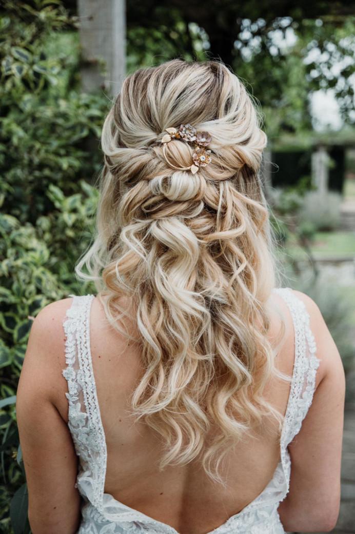 twisted textured half up half down hair - Make Me Bridal Artist: Zoe Sharman hair and makeup. #halfuphair #halfuphalfdown #twistedupdo #bohostyle #bohohair