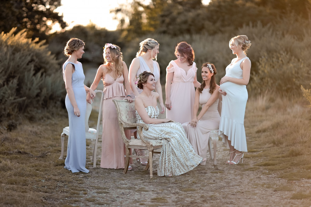 A fabulous group of girls we at braidandbloom styled on their hen party . - Make Me Bridal Artist: Treats4hair . Photography by: Rebecca Searle. #classic #glamorous #boho #flowercrown #curls #gettingready #flowersinherhair #soft #elegant