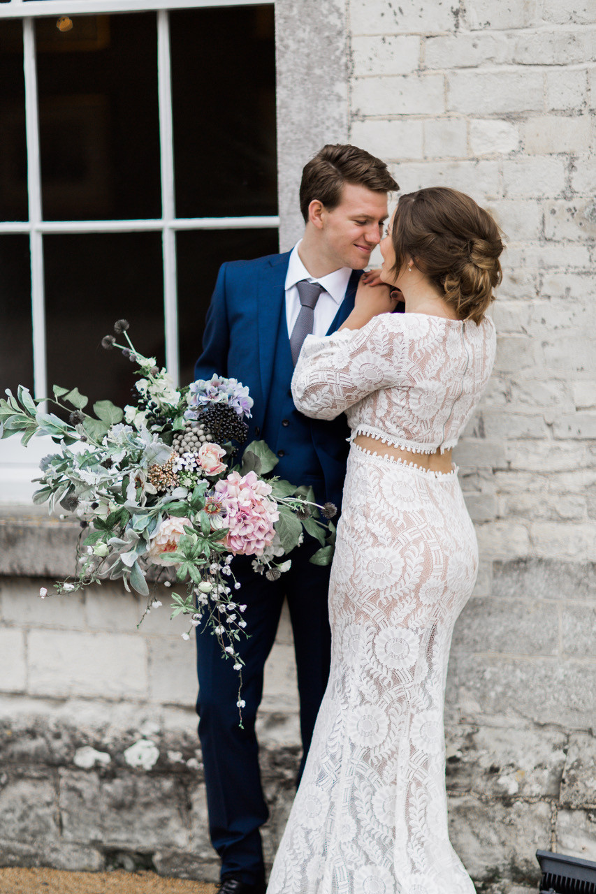 What a cute couple! I styled both as I ready gents too! Ghd mini curlers for him and ghd curls for her. - Make Me Bridal Artist: Treats4hair . Photography by: Rebecca Searle. #glamorous #rustic #elegant #lowupdo #relaxedupdo #romantichairup