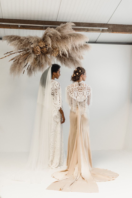 Bridal look book shoot for Poppy Perspective Bridal with a veil by sash and veil, with Braidandbloom team. - Make Me Bridal Artist: Treats4hair . Photography by: Rebecca Searle. #bohemian #weddingmorning #weddingweddinghairweddinginspobridebridehairveildevonwedding #hairp