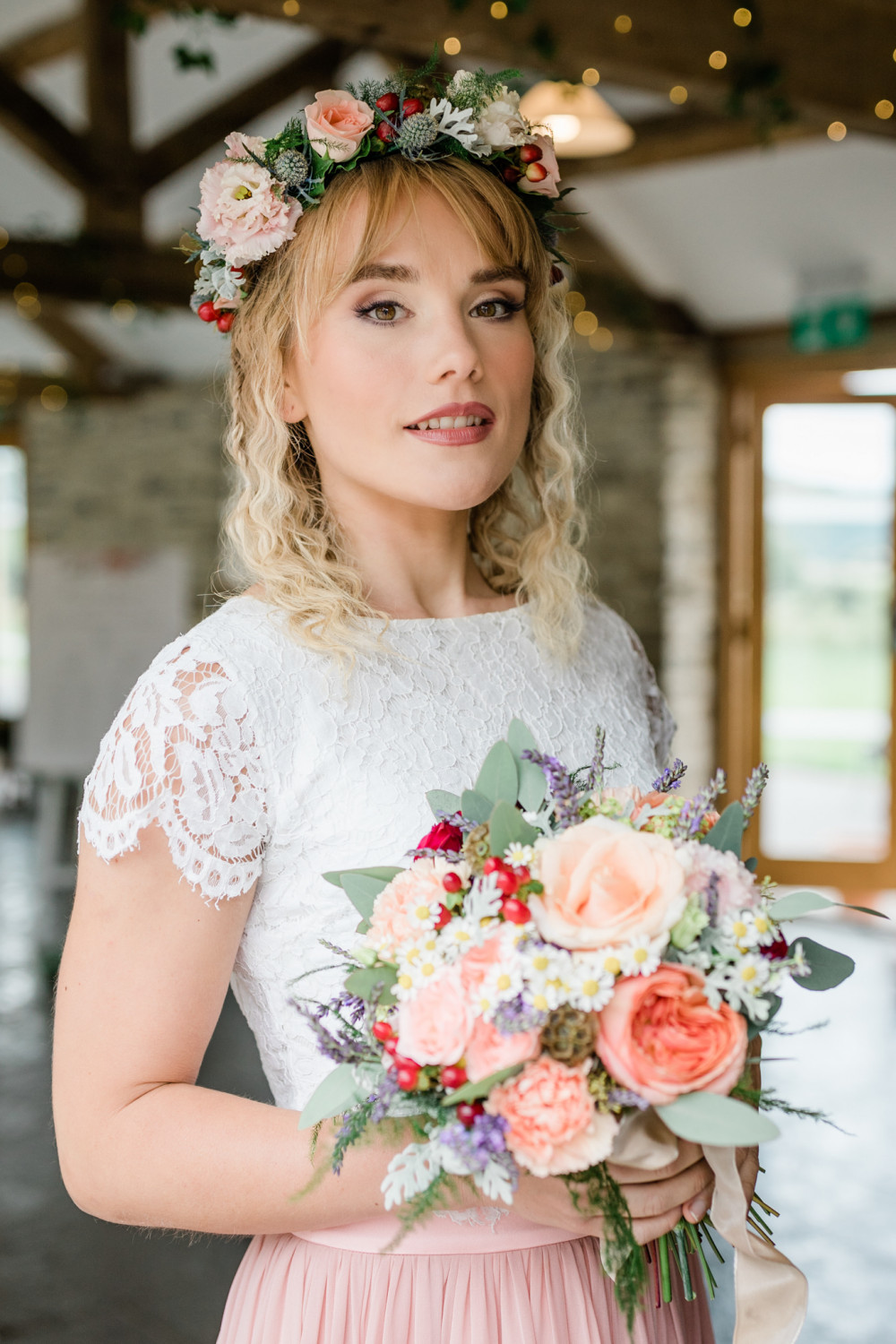 Styled Photoshoot   Inspiration - Down on the farm - Make Me Bridal Artist: SJM Beauty   Make-up Artist. Photography by: Becky Wright Photography. #bohemian #vintage #boho #flowercrown #bridalmakeup #glow #soft #relaxed