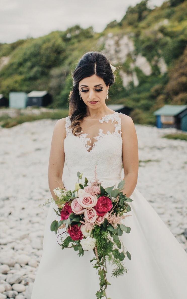 Hair & makeup for this stunning bride. Wedding at Pennsylvania Castle. - Make Me Bridal Artist: Nipona Khan Professional Hair & Makeup Artist. #glamorous #halfuphair #bridalmakeup #brunette #weddinghairandmakeup #bridalmakeupartist #hampshiremakeupartist