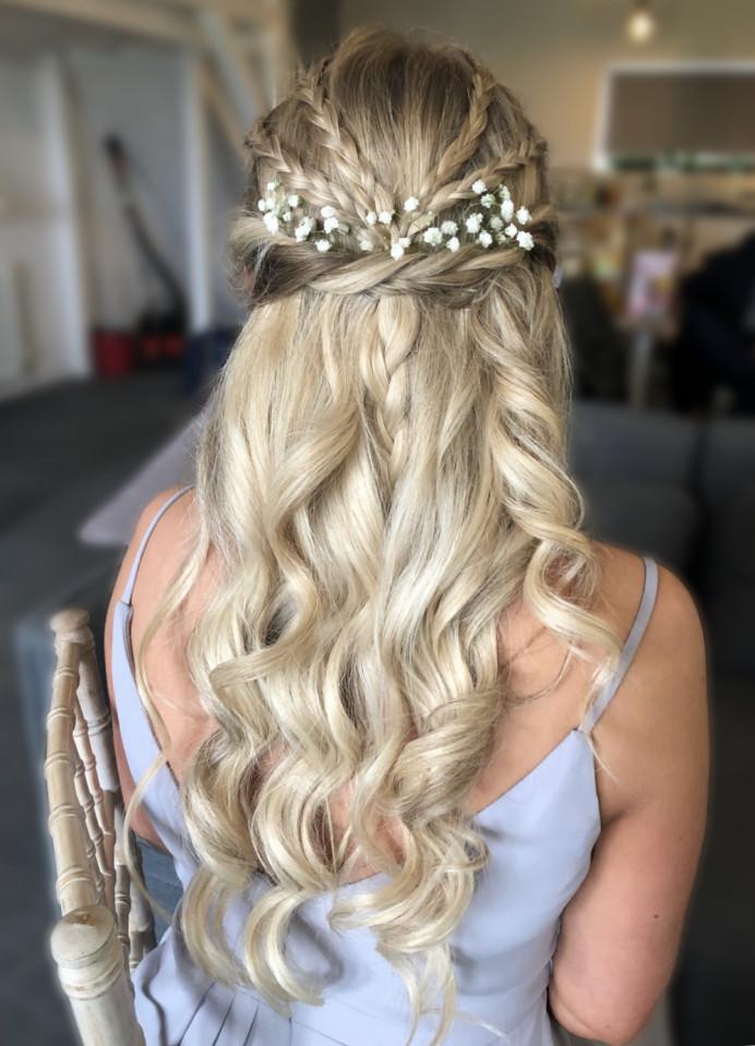 Half Up braided, twisted & curly Bridemaid updo. - Make Me Bridal Artist: Nipona Khan Professional Hair & Makeup Artist. #halfuphair #curls #gypsophila #weddingmorning #bridemaidhair #braidedhalfuphalfdown #blondehair