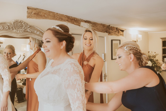 Wedding Morning Bridal party helping her get ready. Makeup by me for all 3. - Make Me Bridal Artist: Nipona Khan Professional Hair & Makeup Artist. #weddingmorning #bridalmakeup #bridesmaidmakeup #bridalparty #softglammakeup #weddingmakeupartist