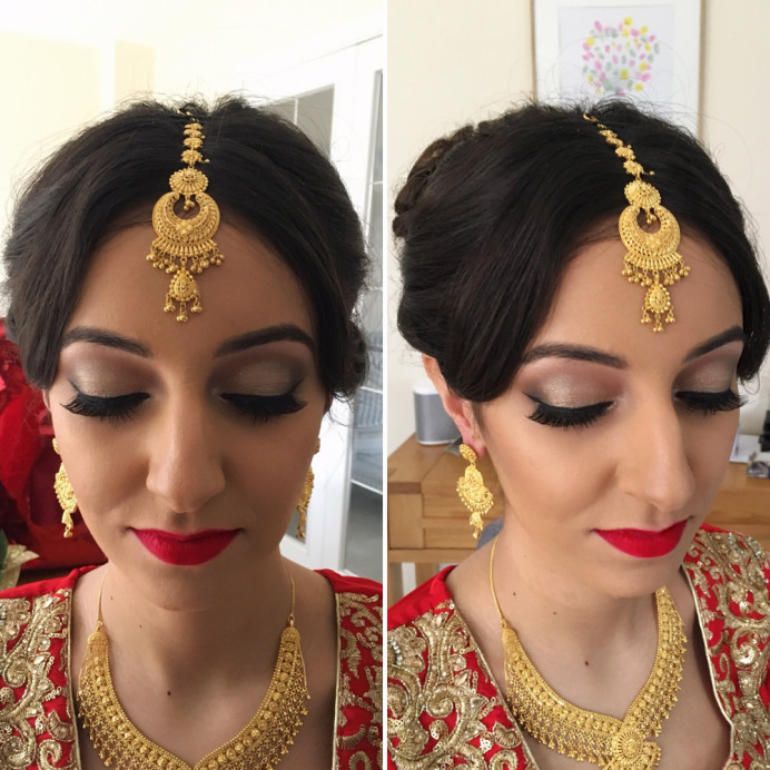 Asian bridal hair & makeup. - Make Me Bridal Artist: Nipona Khan Professional Hair & Makeup Artist. #halfuphair #weddingmorning #bridalmakeup #bridalhair #fullbun #weddinghairandmakeup #definedmakeup #softglammakeup #stronglip