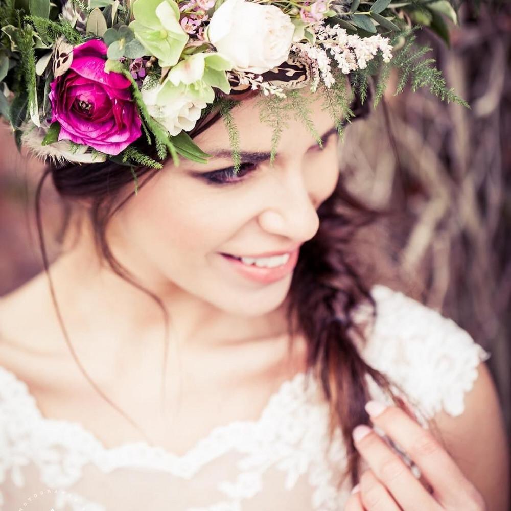 - Make Me Bridal Artist: Alison Martin Hair & Make-up. Photography by: Photography by Kathryn. #classic #boho #flowercrown #bridalmakeup #bridalhair #flowersinherhair #braidedupdo #softhairup