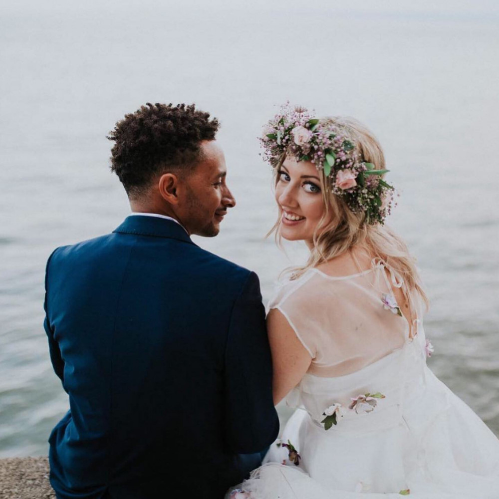 - Make Me Bridal Artist: Lara champion make-up. Photography by: Sophie collins. #gyposphila #flowersinherhair #pretty #blueflowers #definedmakeup #floral