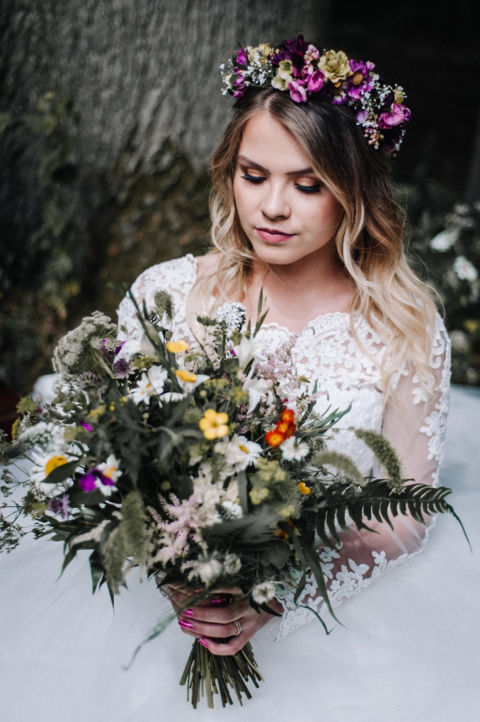 - Make Me Bridal Artist: Nicola Jane - Makeup Artist. Photography by: Popsicle photography. #boho #bohobride #flowercrown #bridalmakeup #airbrushedmakeup #mac #airbrush