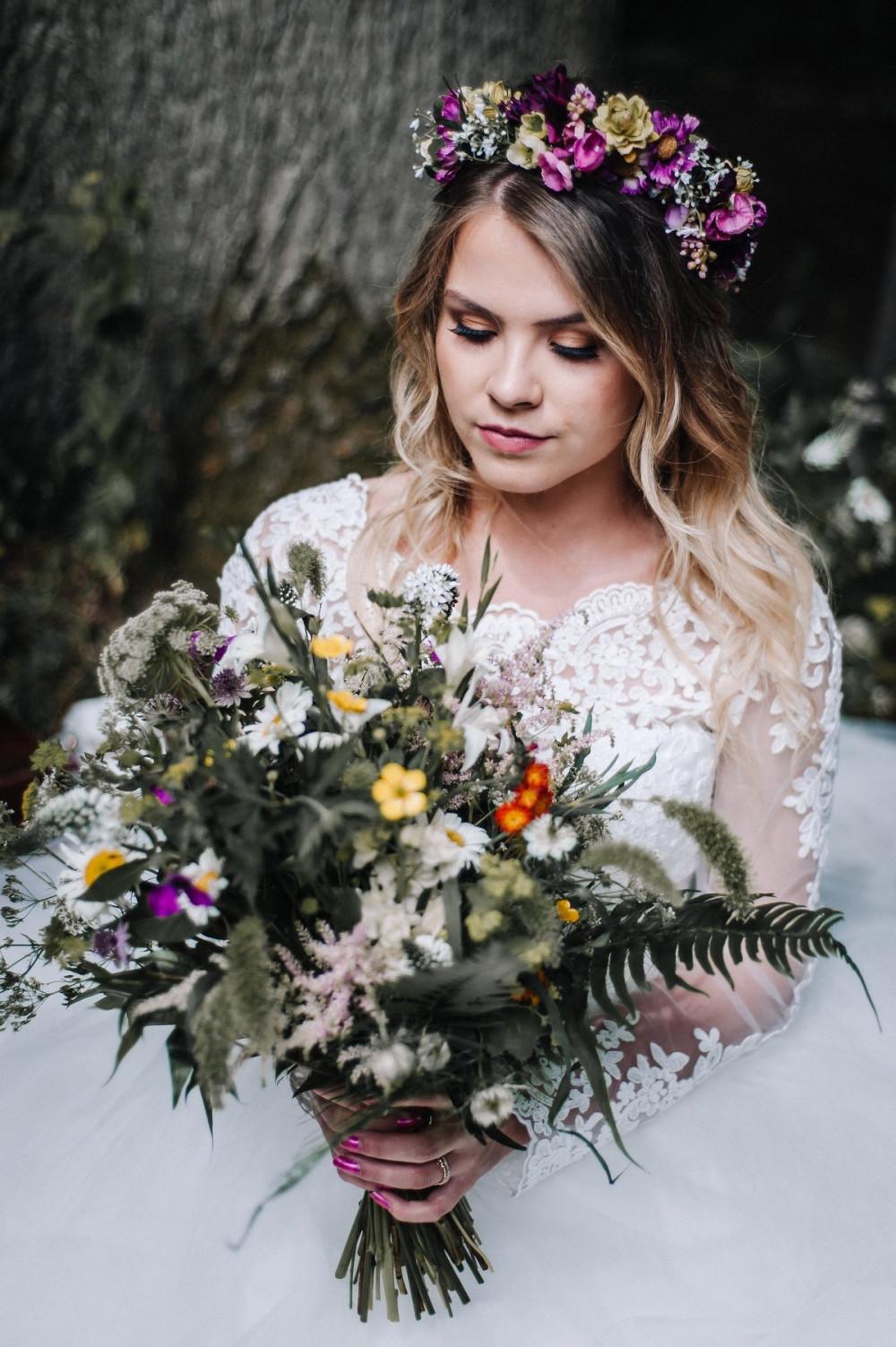 - Make Me Bridal Artist: Nicola Jane - Makeup Artist. Photography by: Popsicle photography. #boho #bohobride #flowercrown #bridalmakeup #airbrushedmakeup #mac #airbrush