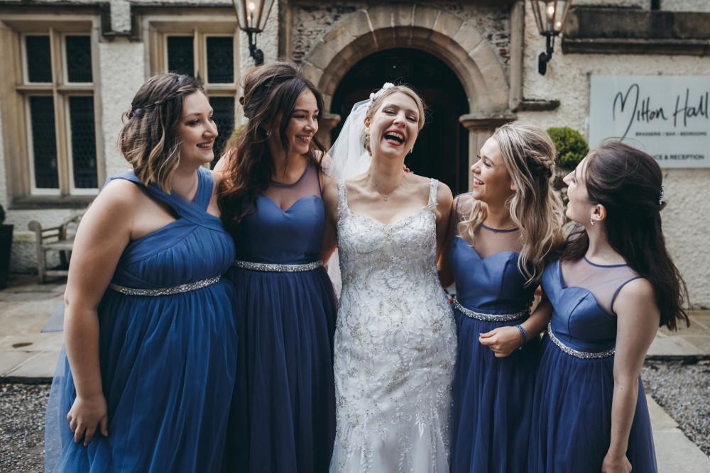 Bride and bridesmaids on the wedding day. - Make Me Bridal Artist: Nicola Jane - Makeup Artist. Photography by: Mark Tattershall. #glamorous #bridalmakeup #bridalhair #bridemaids #blue