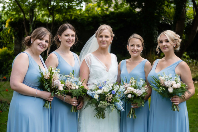 Bride Emma with her bridal party.