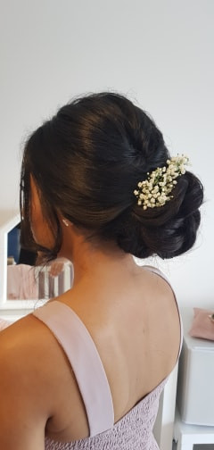 Bridesmaid Hair by me - Love Gypsophila - Make Me Bridal Artist: Hairbydanielle. #bridemaidshair