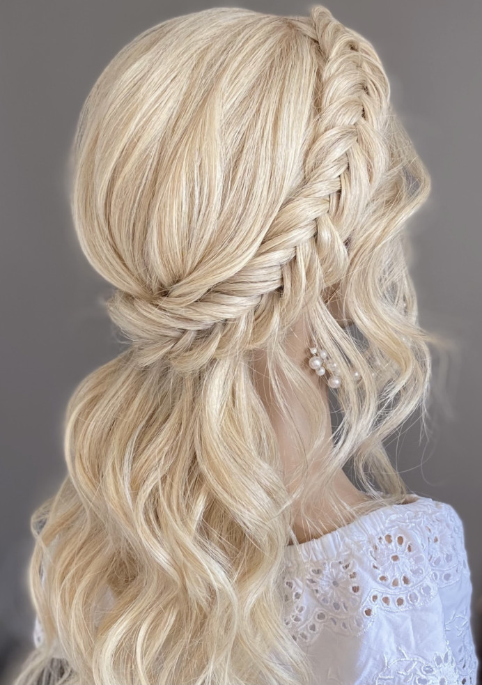 - Make Me Bridal Artist: Bridal hair by Michelle Jewess. Photography by: Michelle. #bohemian #halfuphair #curls #bridalhair #fishtailbraid #crownbraid