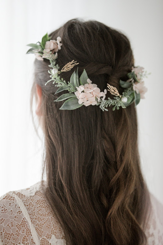 Half up half down - Make Me Bridal Artist: Hair Creations By Colette. #halfuphalfdown #bohemian #boho #flowercrown #brunette