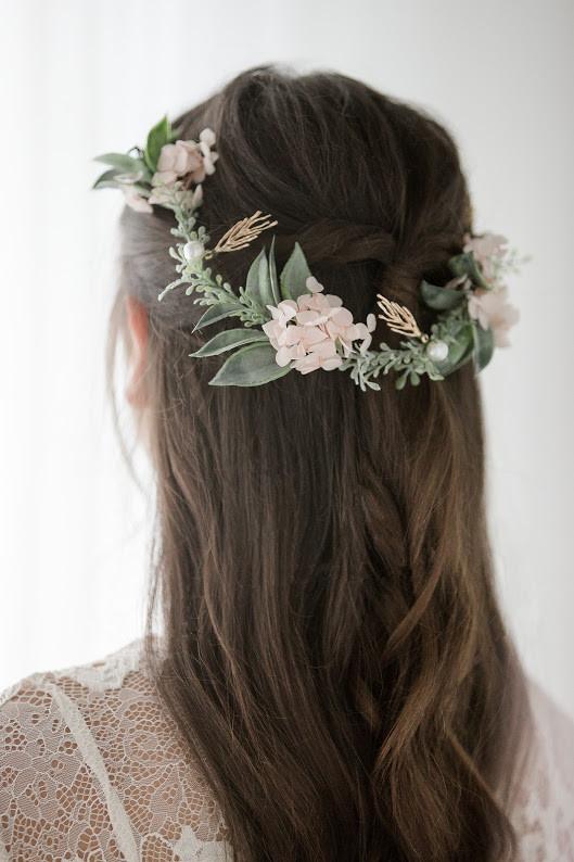 Half up half down - Make Me Bridal Artist: Hair Creations By Colette. #halfuphalfdown #bohemian #boho #flowercrown #brunette