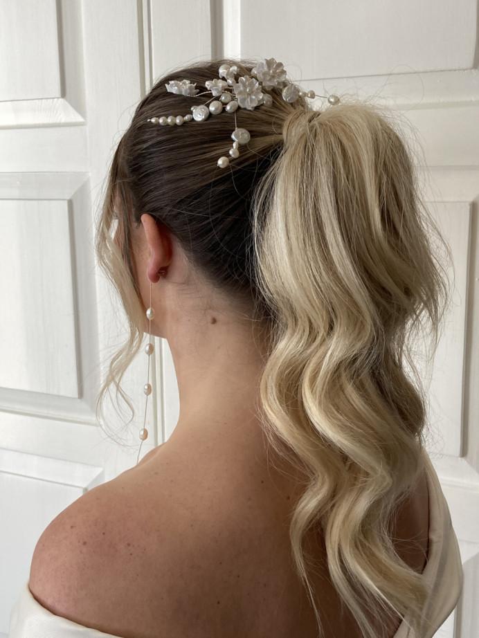 - Make Me Bridal Artist: Hair Creations By Colette. #bridalhair #ponytail #blondebride