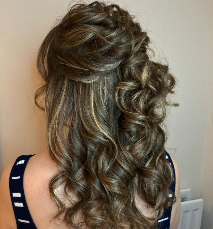 - Make Me Bridal Artist: Hair Creations By Colette. #bridalhair #halfuphair #brunettebride