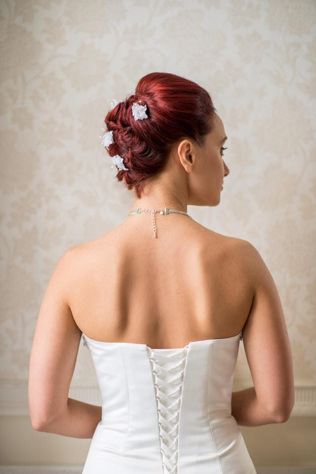 Bridal undo for a bride with short hair giving the illusion of her having longer hair, without using any hair pieces. - Make Me Bridal Artist: Katrina Flavell . #bridalhair #updo #hairup #weddinghair