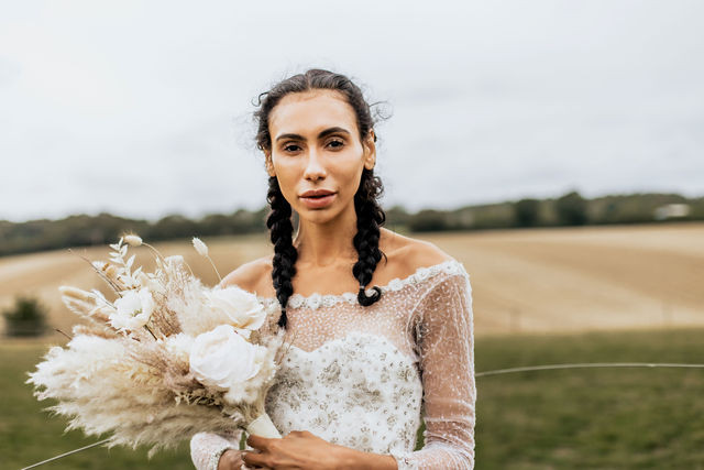 Sube wearing Eliza Jane Howell - Make Me Bridal Artist: Mels Brides. Photography by: Kate Boston. #bohemian #naturalmakeup #bridalmakeup #bohobride