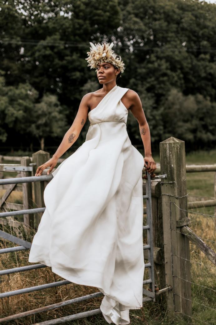 Wearing Peter Langner - Make Me Bridal Artist: Mels Brides. Photography by: Kate Boston. #classic #bohobride #kentmakeupartist
