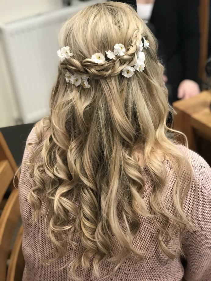 - Make Me Bridal Artist: Alessia Grace Makeup. #bohemian #blonde #romantic #halfuphalfdown