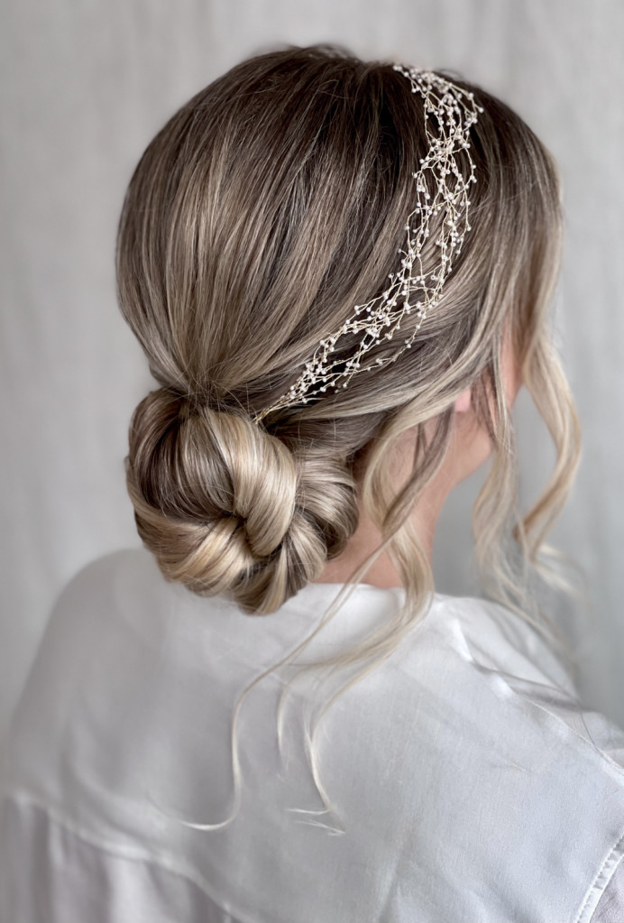 - Make Me Bridal Artist: Jennifer Fogerty Hair and Makeup. #blonde #lowbun #hairaccessories #simplebun